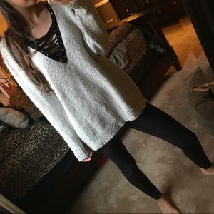Lace up super soft sweater